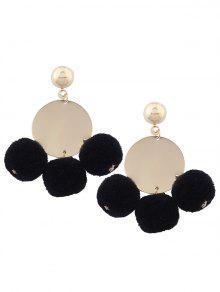 Round Disc Fuzzy Ball Earrings - Black