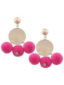 Round Disc Fuzzy Ball Earrings - Rose Red