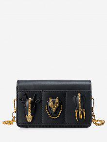 Chain Rivets Faux Leather Crossbody Bag - Noir