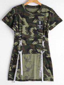 Lace Up Patchwork Camouflage High Low Tee - Army Green 2xl