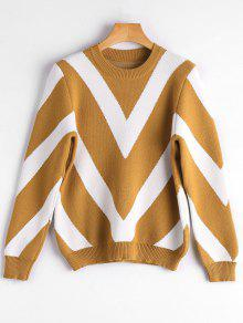Crew Neck Contrast Graphic Sweater - Earthy