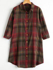 Button Up Long Checked Shirt With Pockets - Red 2xl