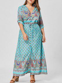 الخامس الرقبة زر زائد حجم فستان ماكسي - أزرق أخضر 5xl