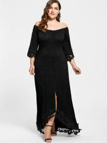 37% OFF] 2019 Plus Size Off The Shoulder Lace Insert Maxi Dress In ...