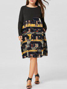Plus Size Graphic Langarm Trapez Kleid - Schwarz 5xl