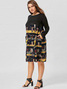 5c55879d996 2018 Plus Size Graphic Long Sleeve Trapeze Dress In BLACK 5XL
