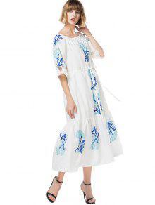 Encaje Vestido De Cuello M Encaje Blanco Con Estampado De qnEaRnH47