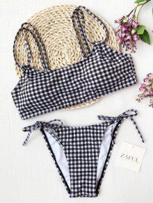 Plaid Doble Correas Bikini De Cuerda - Blanco Y Negro S