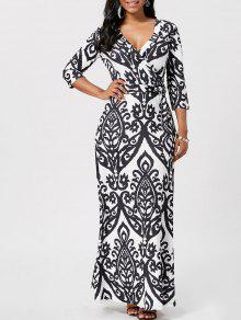 الطباعة العرقية فستان ماكسي التفاف - أسود Xl
