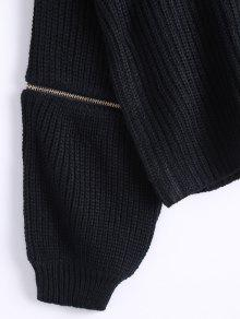 Zipper Sleeve Chunky Choker Sweater BLACK: Sweaters ONE SIZE | ZAFUL