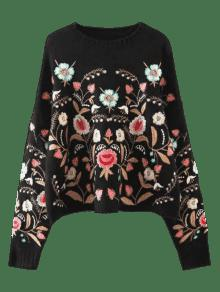 Oversized Floral Embroidered Sweater