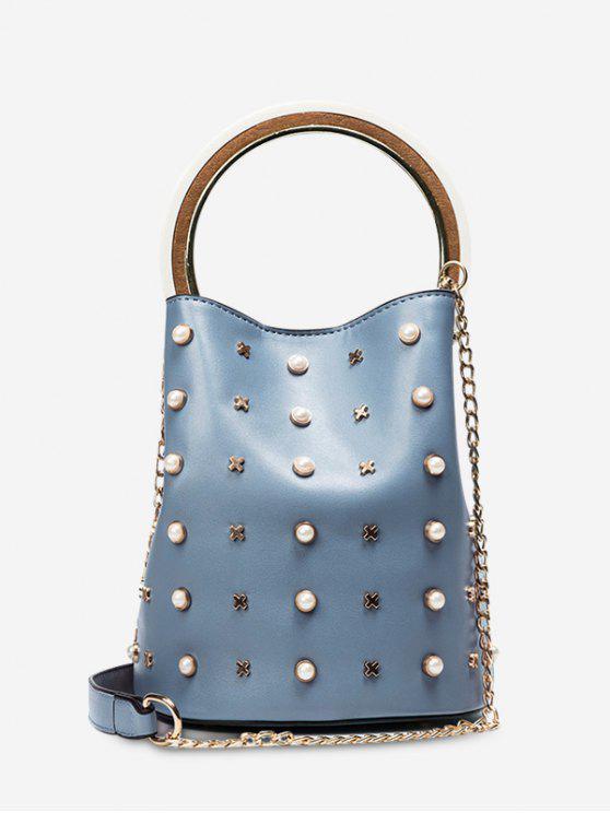 Kette Faux Perlen Eimer Tasche - Blau