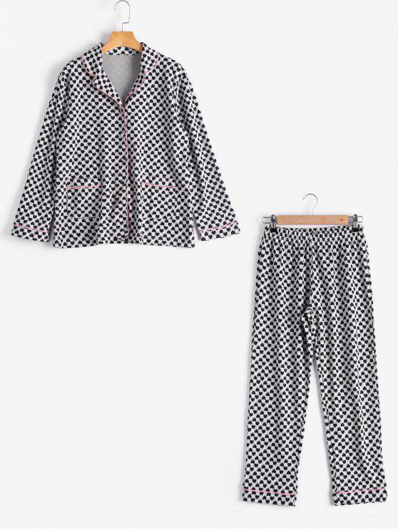 Camisa de padrão de coração Loungewear com calças - Preto L