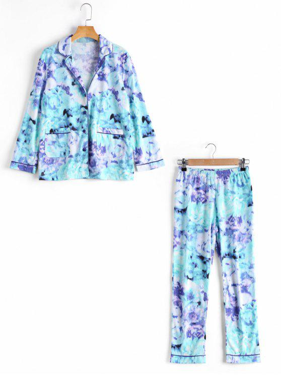 Loungewear camisa teñida con los pantalones - Azul M