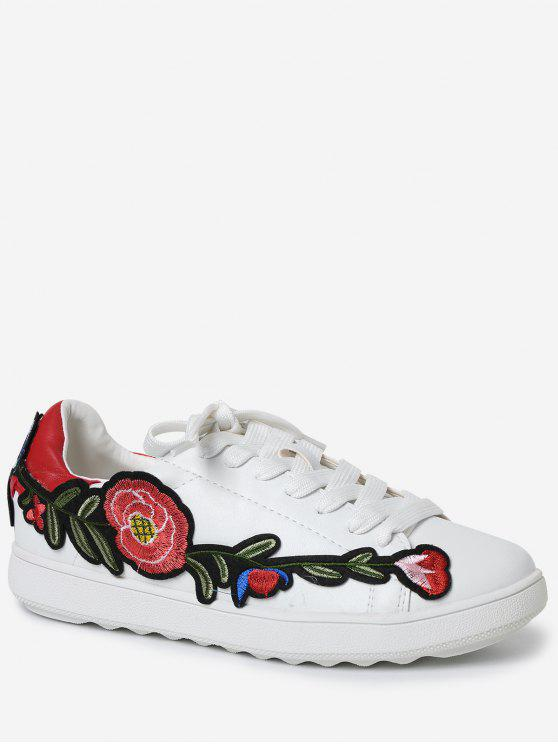 Faux Leather Floral Bordado Sneakers - Vermelho 38