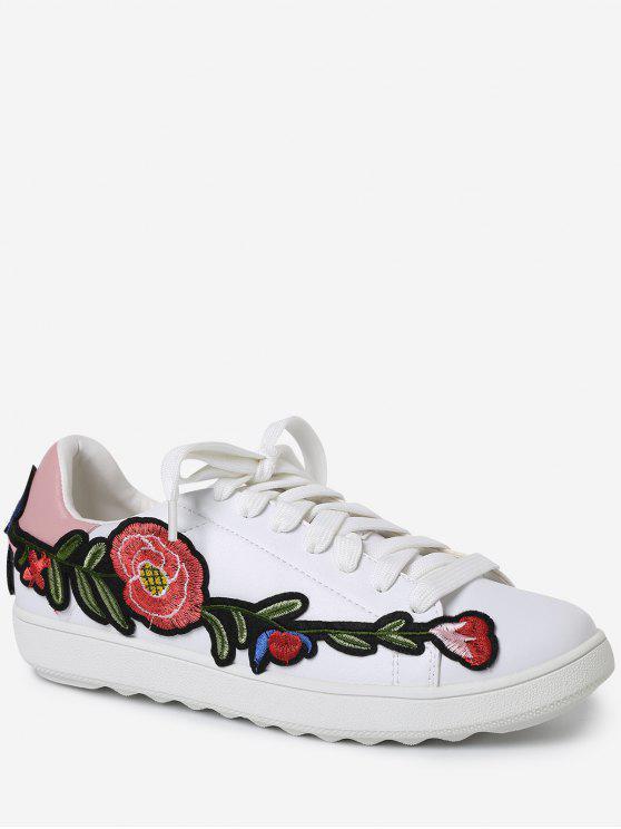 Faux Leather Floral Bordado Sneakers - Rosa 37