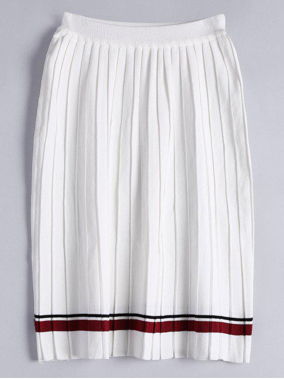 High Waist Striped Knitted Pleated Skirt WHITE: Skirts ONE SIZE ...