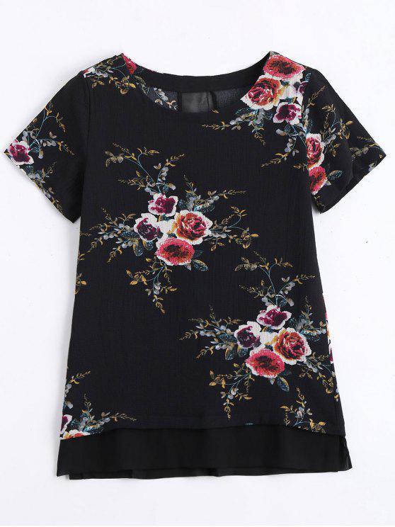 بلوزة طباعة الأزهار - أسود XL