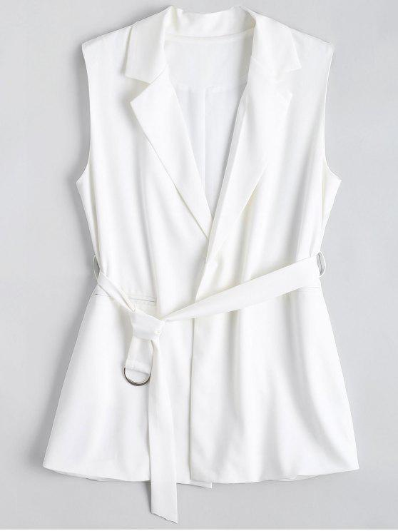affordable Long Belted Lapel Waistcoat - WHITE L
