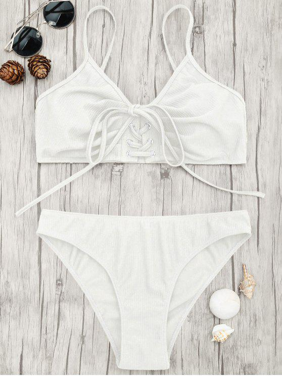 fancy Eyelets Lace Up Bralette Bikini Set - WHITE M