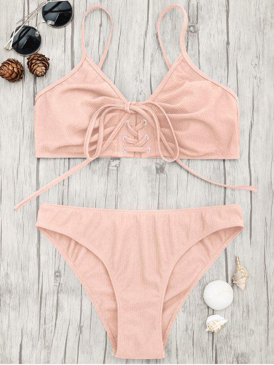 sale Eyelets Lace Up Bralette Bikini Set - PINK L
