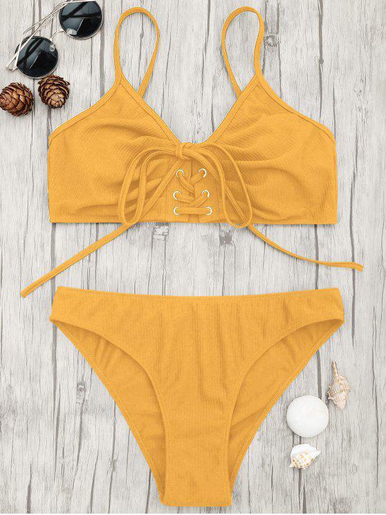women's Eyelets Lace Up Bralette Bikini Set - GINGER S