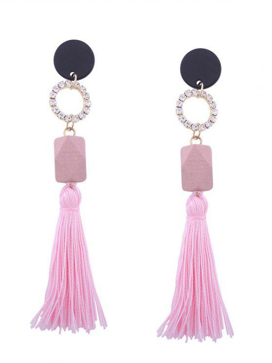 Tassel Pendant Faux Gem Long Earrings - Rosa