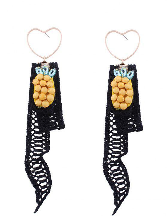 Lace Pineapple Pendant Heart Earrings - Preto