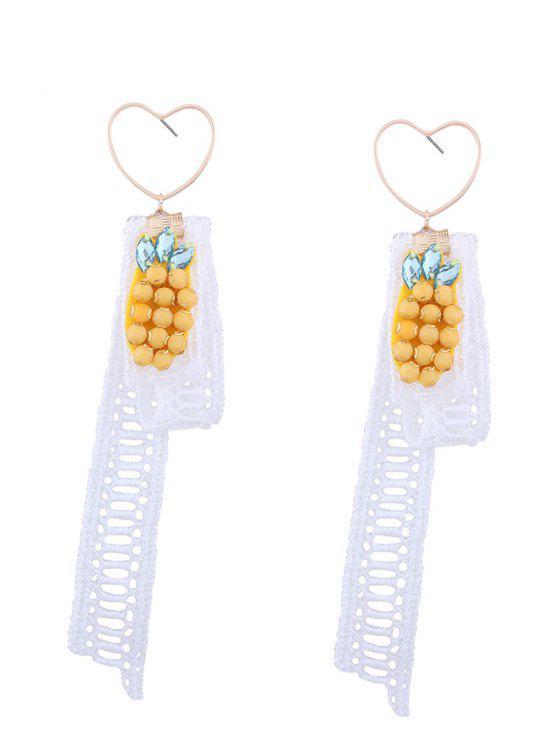 Spitze Ananas Anhänger Herz Ohrringe - Weiß