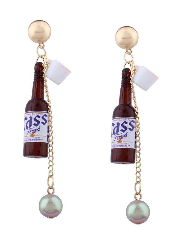 latest Wine Bottle Faux Pearl Pendant Earrings - BROWN