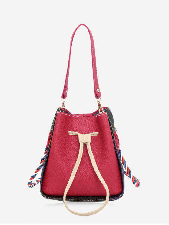 trendy Color Block Drawstring Bucket Bag - RED