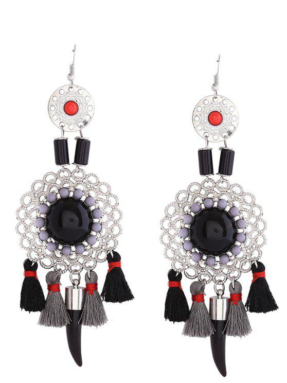 fancy Hollow Flower Tassel Fish Hook Earrings - BLACK