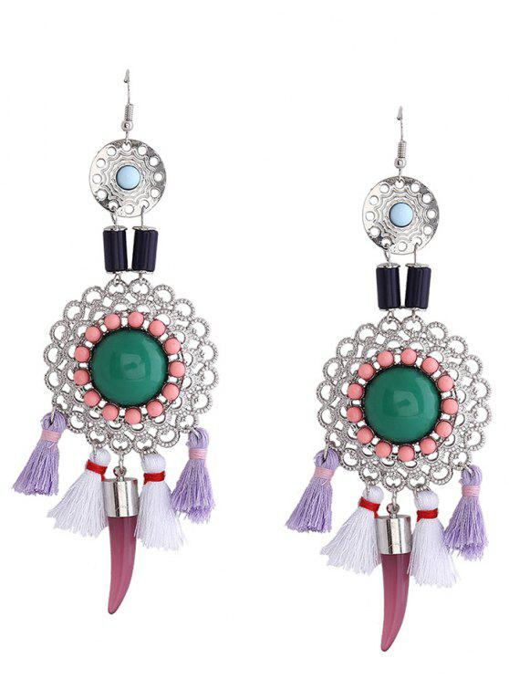 sale Hollow Flower Tassel Fish Hook Earrings - GREEN
