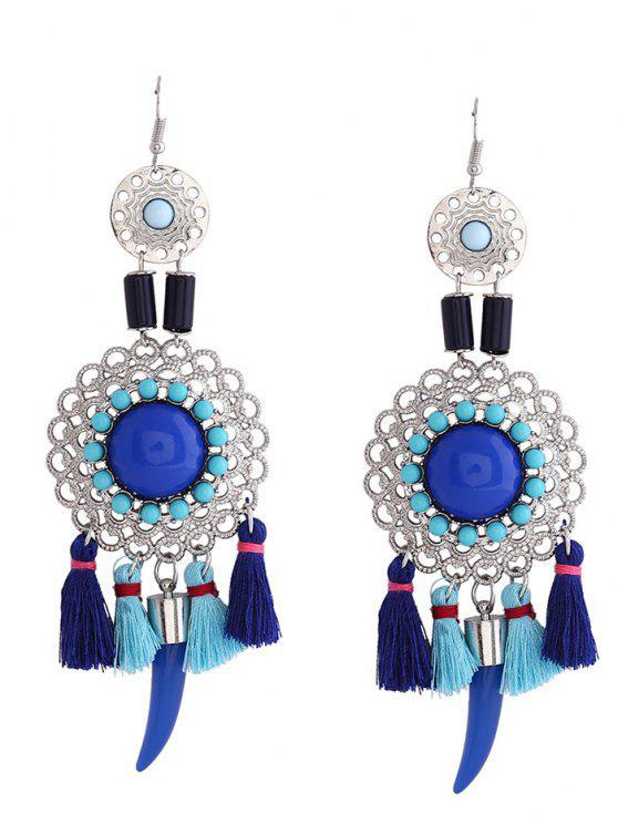 Höhle Blumen-Troddel-Fisch-Haken-Ohrringe - Blau