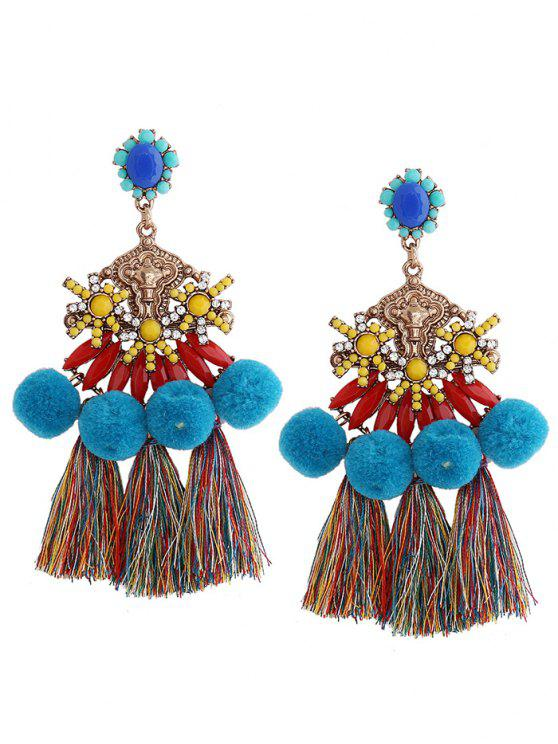 women Pom Pom Tassel Pendant Earrings - BLUE