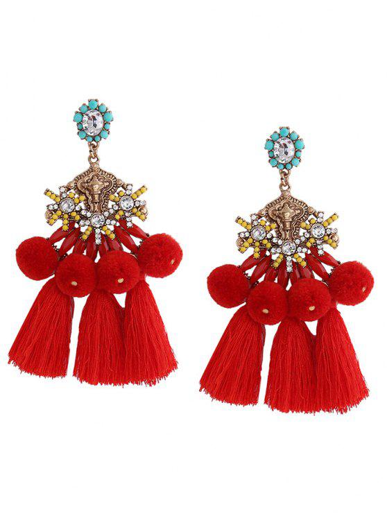 Las Pom Tel Pendant Earrings Red