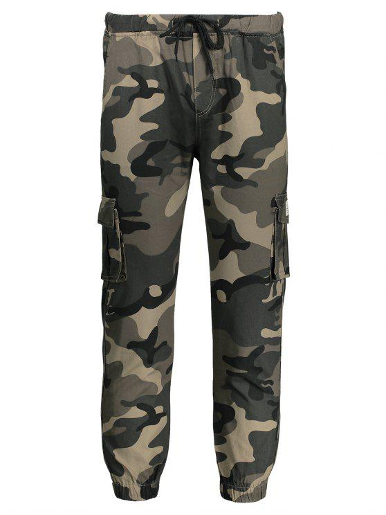 Calças de jogger de camuflagem com cordão - Caqui 3XL
