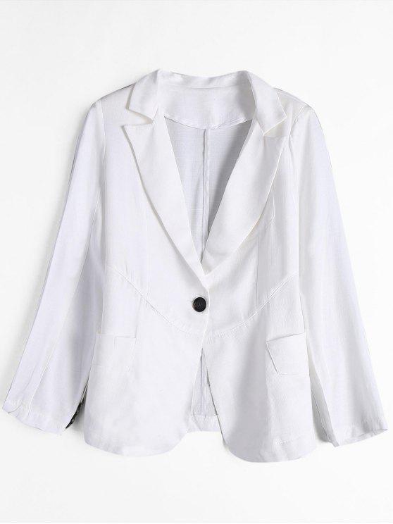 Blazer mit Taschen und Einem Knopf - Weiß M