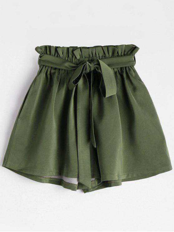 online Smocked Belted High Waisted Shorts - ARMY GREEN ONE SIZE