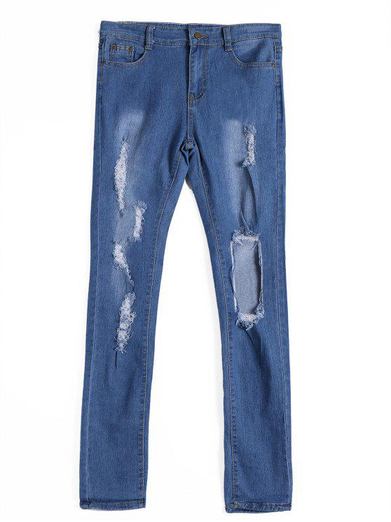 Jeans Jeans Ripiegati a Zipper - Blu Denim XL