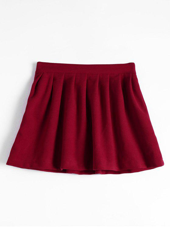 new High Waist Pleated Flare Skirt - DEEP RED L