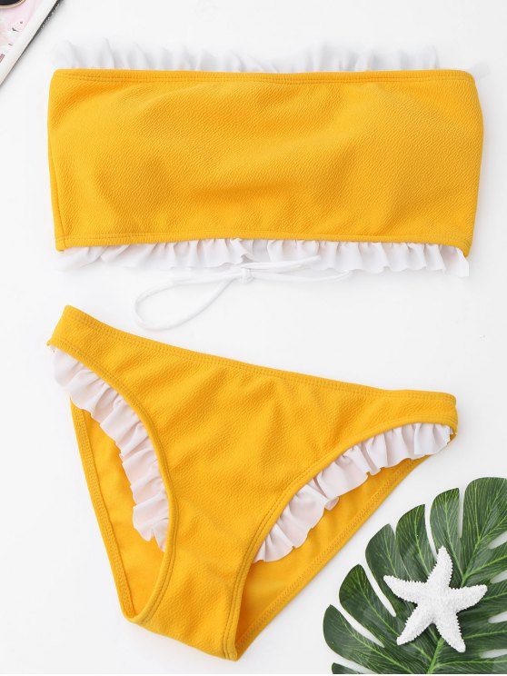online Frilled Textured Lace-up Bikini Set - YELLOW L