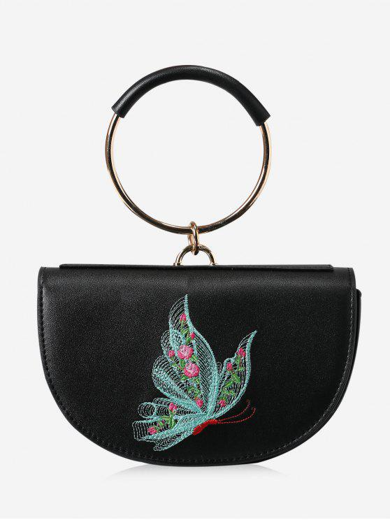 chic Metal Ring Embroidery Tote Bag - BLACK AND GREEN
