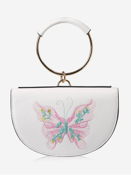fancy Metal Ring Embroidery Tote Bag - PINK AND WHITE