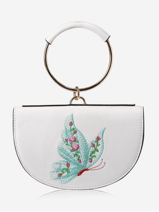 La bolsa de asas del bordado del anillo del metal - Blanco y Verde