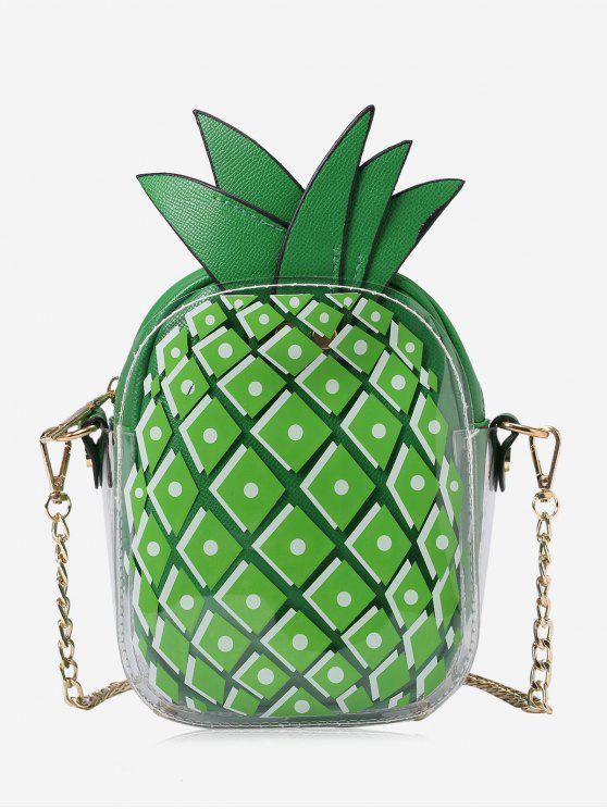 womens Chain Pineapple Shape Crossbody Bag - GREEN