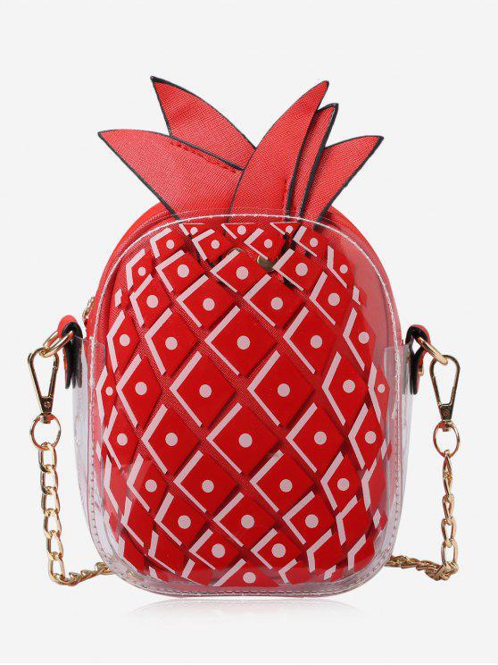 حقيبة طويلة التمر بالجسم على شكل الأناناس بسلسلة - أحمر