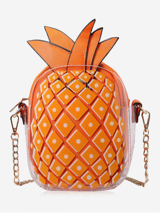 حقيبة طويلة التمر بالجسم على شكل الأناناس بسلسلة - البرتقالي