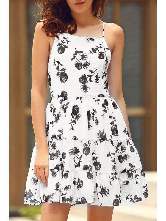 Robe chiffon à volants imprimée de motif floral à bretelles spaghetti - Blanc M
