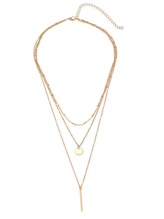 ladies Bar Round Disc Pendant Layered Necklace - GOLDEN